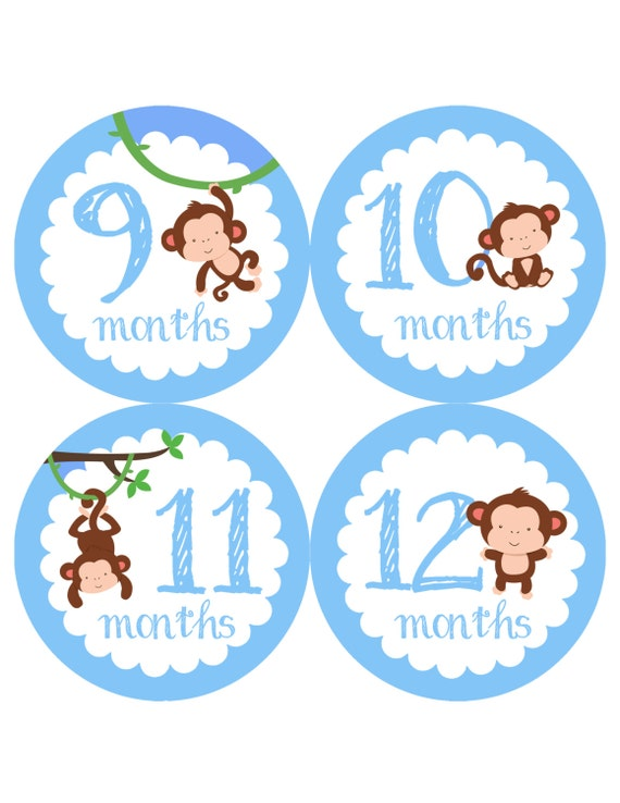 Baby Month Stickers Cartoon Boy Girl Self-Adhesive Monthly Milestone Sticker LH