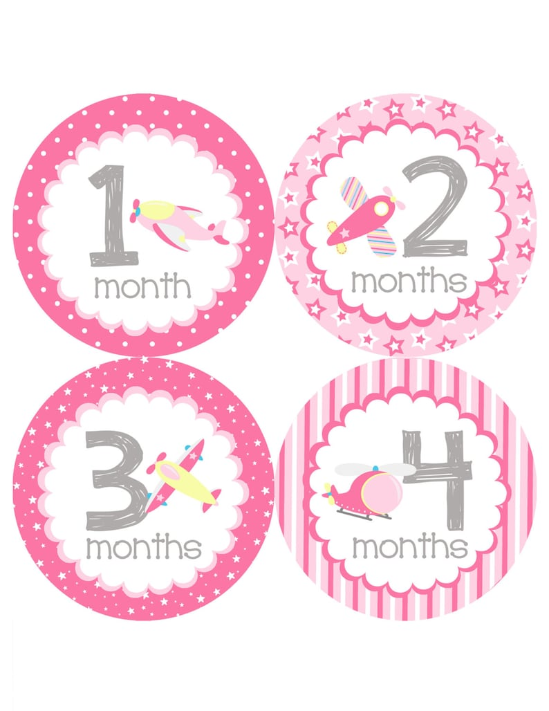 73a834a111c4 Printable Bundle Cute Pink Airplane Monthly Onesie Stickers
