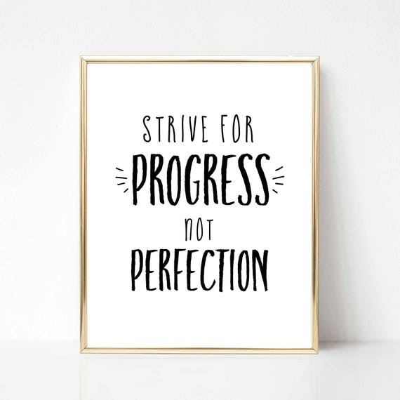 Strive For Progress Not Perfection Digital Quote | Inspirational Quote  Office Decor | Office Wall Art | Boss Babe Quote Gift | Gift for Her