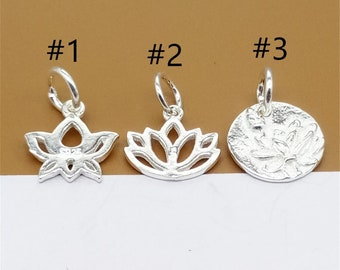 12510PCS S925 Sterling Silver Lotus Charm,Sterling Silver Lotus Charm,Yoga Bracelet Charm Pendant