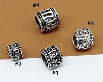 5pcs of 925 Sterling Silver Om mani padme hum Beads Spacer for Bracelet
