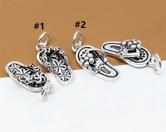 a4cc11b014 5 Sterling Silver Flip Flops Charms