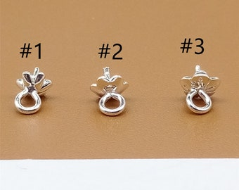 10x4mm Sterling Silver Cup and Peg Drop CC-0128 slider 4 pcs 4mm ring For Half drilled pearls and beads 3mm cup