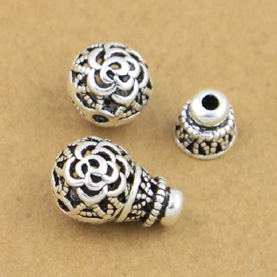 ANTIQUE SILVER~ROUND~HOLLOW BEADS~CHOOSE QUANTITY,13 x 14 MM HOLE~6 MM approx.