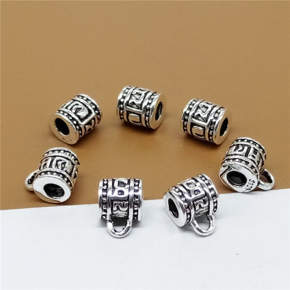 5 Sterling Silver Om Bail Beads 925 Silver Om mani padme hum Bail Beads Tube Bead Charms