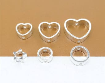 4 Sterling Silver Bead Frames for 6mm, 8mm, 10mm Beads, 925 Silver Bead Frames, Heart Bead Frames, Star Bead Frames, Circle Frames - LA1225