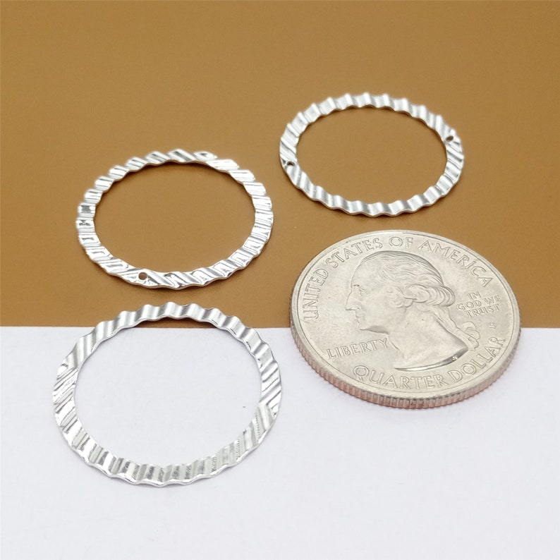 925 Silver Circle Jump Ring Connector for Bracelet Necklace 8 Sterling Silver Closed Round Jump Rings Hammered Type