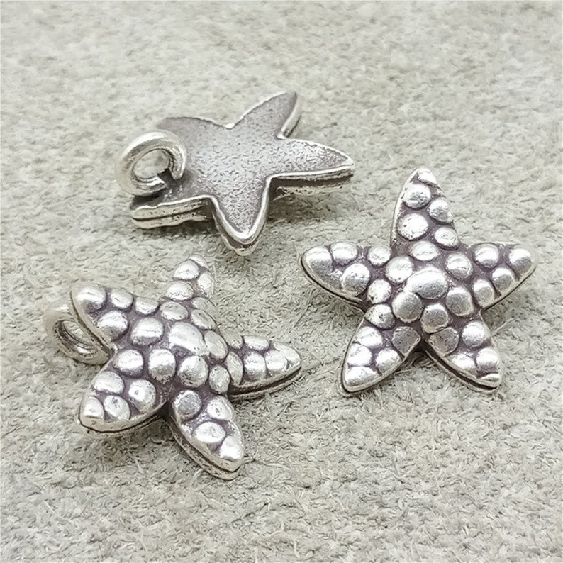4 Karen Hill Tribe Silver Starfish Charms for Sea Ocean Beach Bracelet Necklace