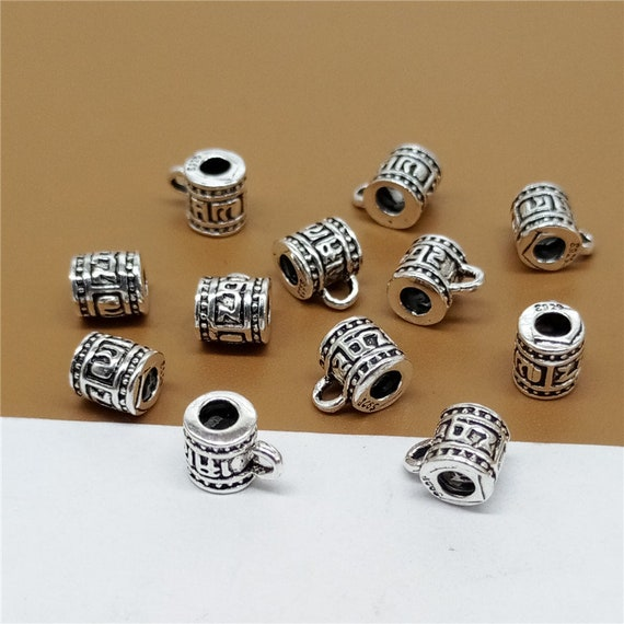5 Sterling Silver Flower Blossom Tube Beads 925 Silver for Bracelet Spacers