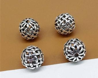 5 Sterling Silver Basket Weave Beads, Bracelet Bead, Necklace Bead, Round Bead, 925 Silver Weave Bead, Ball Bead 10mm, Jewelry Making