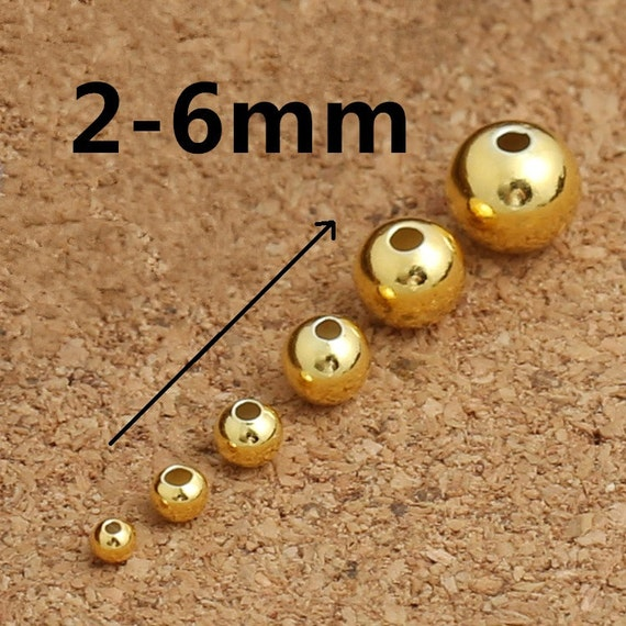 Gold Dipped Sterling Silver 6mm Diamond Faceted Round Bead