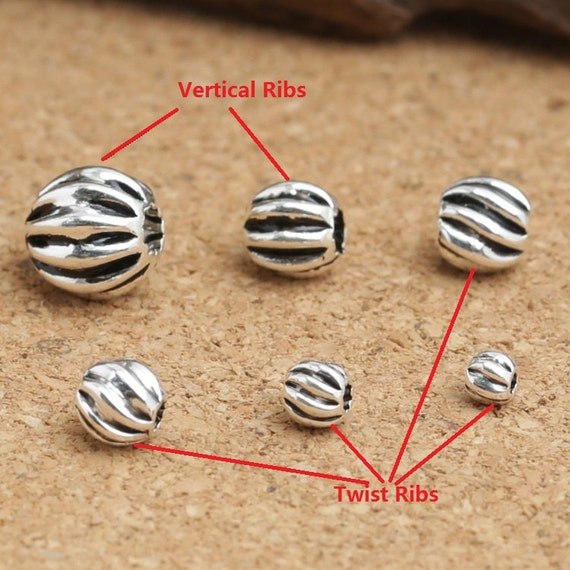 12 Corrugated Beads Sterling Silver Beading Jewelry 4mm