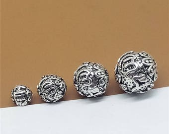 Sterling Silver Om mani padme hum Beads, Om Beads, Round Beads, 925 Silver Buddhist Buddhism Bead, Bracelet Bead, Necklace Bead