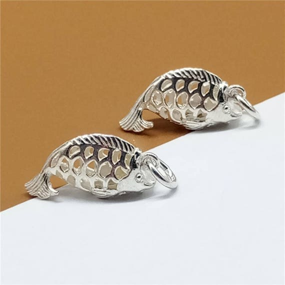 Sterling silver shiny fish charms hollow