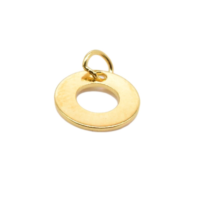 2pcs 18K Gold Vermeil Style Tiny Cut-out Circle Charms on 925 Sterling Silver Geometry Charm Heavy 18K Gold Plated Circle Charm