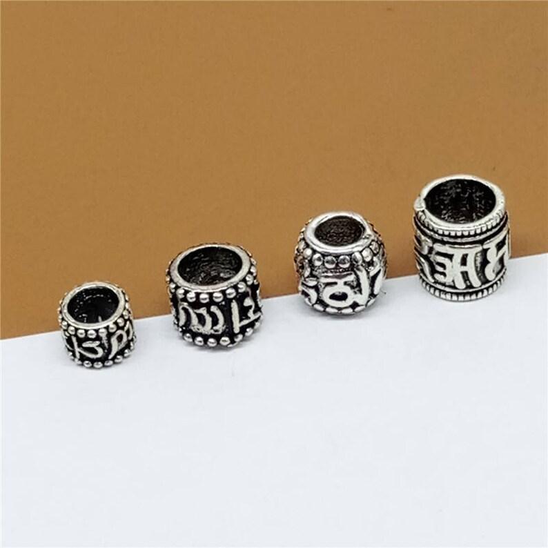 Sterling Silver Om mani padme hum Beads Sterling Om Spacer Beads Om Tube Beads Sterling Silver Buddhist Buddhism Bead