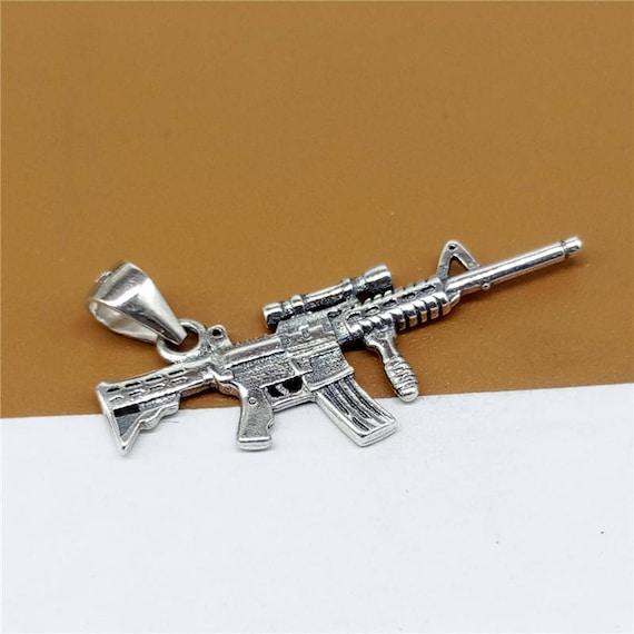Sterling Silver Sniper Rifle Charm, Gun Charm 2-Sided, 925 Silver Gun  Charm, Military Weapon Charm - JH1045