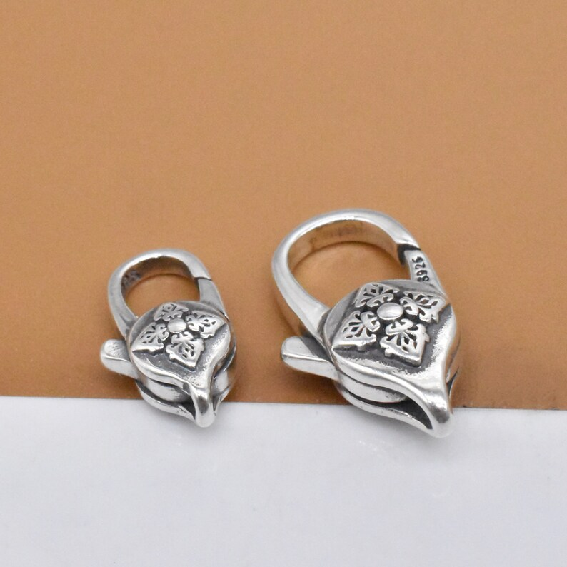 Trigger Clasp 925 Silver Lobster Claw Clasp Sterling Silver Double Dorje Lobster Clasp 2-sided Vajra Dorje Clasp Tibetan Buddshim Clasp