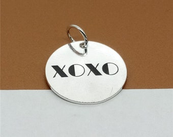 925 Sterling Silver XOXO Charm 17mm, Custom Disc Charm for Necklace Bracelet Key Chain - C16
