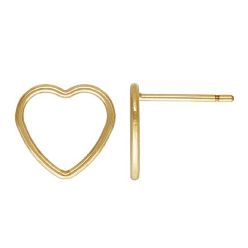 2 Pairs 14K Gold Filled Heart Post Earrings Gold Filled Ear Posts Gold Filled Love Earring Jewelry 120 14K 10mm Heart Ear Stud Earrings