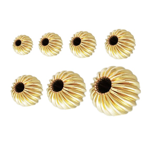 Corrugated Round Beads Gold Filled