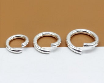 5 Sterling Silver Open Jump Rings 1.5mm 2mm Thickness, Diameter 10mm, 12mm, 14mm, 925 Silver Open Jump Ring for Bracelet Necklace - TZ18