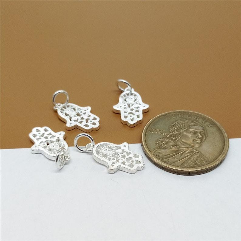 2 Sterling Silver Hamsa Hand Charms 925 Silver Hamasa Charms 2-Sided