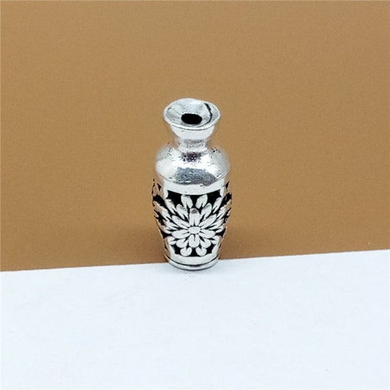 1 Sterling Silver Vase Beads 3d 925 Silver Vase Beads Hollow Etsy