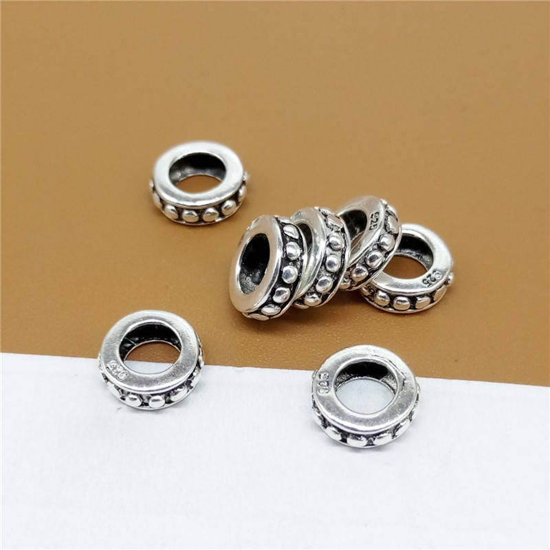 30 Sterling Silver Coiled Rope Ring Bead 925 Silver Twisted Rope Ring Bead Large Hole Bead 5mm 6mm Sterling Coiled Spacer Bead