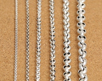 "Sterling Silver Rolo Chain, Sterling Belcher Chain, Rolo Necklace Chain 3.5mm 4mm 5mm 6mm 8mm 10mm 18 20 22 24 26 28 30 32 34 36 38"" - FY403"