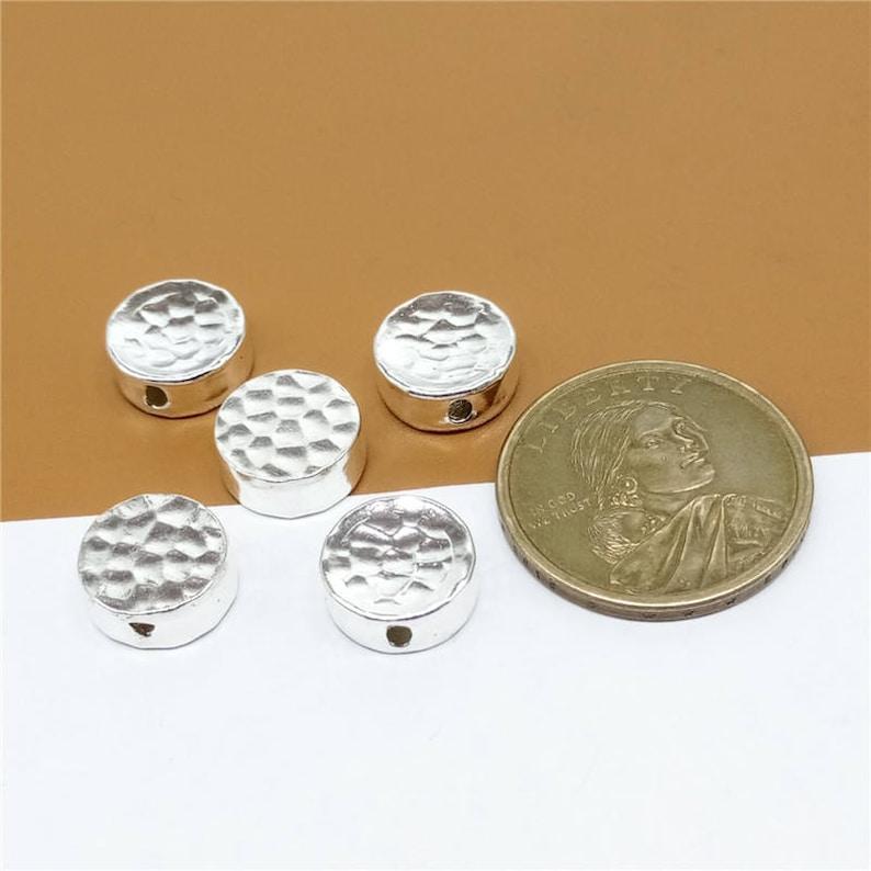 3 Sterling Silver Greek Beads Hammered Greek Bead Sterling Silver Bead 925 Sterling Silver Round Bead Sterling Silver Coin Beads