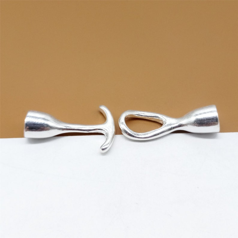 Plain Shiny Toggle Clasp for Bracelet Necklace 925 Sterling Silver Leather Cord End Caps w Toggle Clasp Design