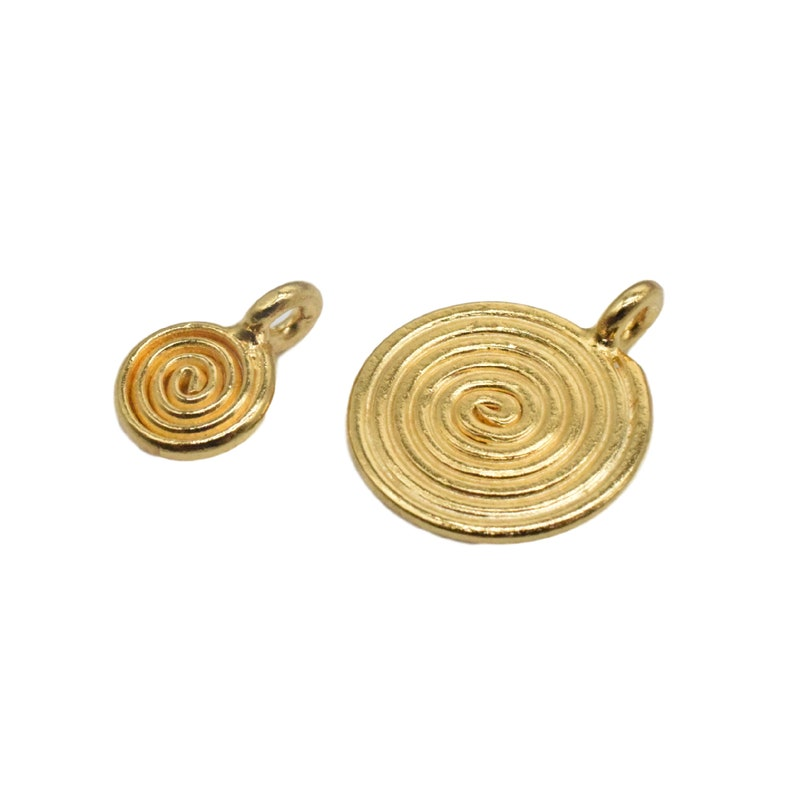 Bracelet Necklace Charm 2 Karen Hill Tribe Silver Swirl Spiral Charm with One Micron 18K Gold Plated 18K Gold Vermeil Style Swirl Charm