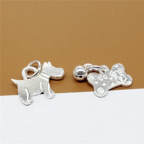 Sterling Silver Doggy Bone//Dog Bone Charme Avec Boîte Chaîne Collier
