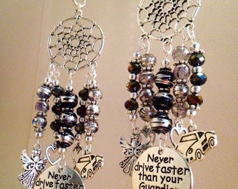 Handmade Angel Hanging Charm For Car Rear View Mirror 'Never drive faster than your Guardian Angel can fly!' Gift To Protect & Keep Safe