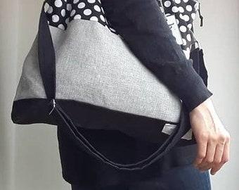 Handmade fabric bag, polka dots tote, waterproof three handles base, zipper closure