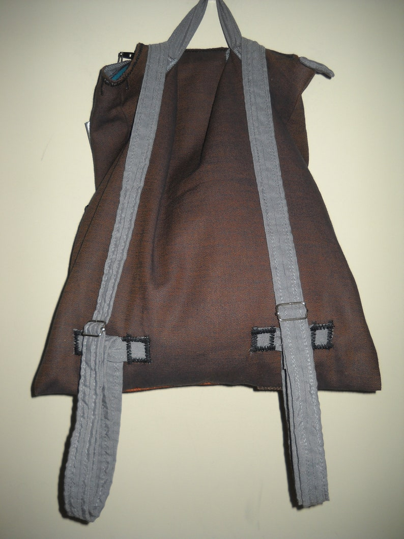 outer pocket Handmade backpack brown