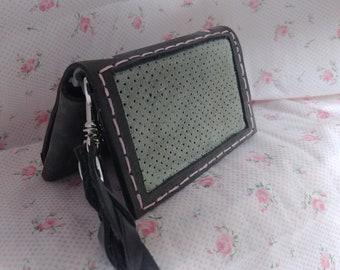 Windowpane Wristlet, Leather Wristlet, Wristlet Clutch, Leather Clutch, Leather Bag, Leather Purse, Bridesmaid Gift