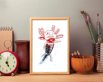 SALE: Axolotl art print, axolotl wall art, salamnder linocut art print - Red blue purple