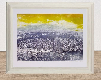 Yorkshire wall art, Pen-y-ghent art print, Yorkshire three peaks original linocut, mountain art, dark blue yellow, abstract landscape art