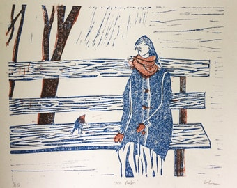 Parklife - the girl and the robin - linocut print