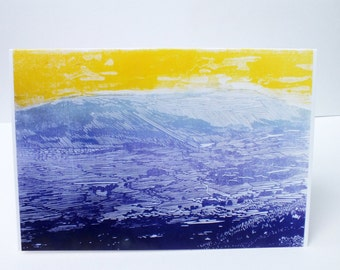 Ingleborough Yorkshire three peaks art card - landscape greetings card