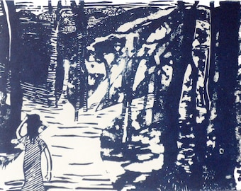 """Sale - Girl walking in forest linocut print - """"Which Way..."""" book illustration"""