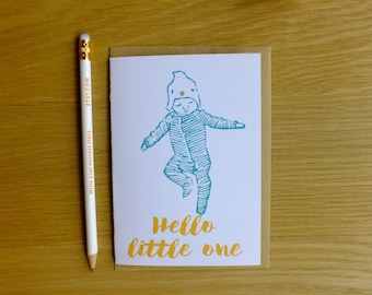New baby custom message on front card- hello little one linocut card