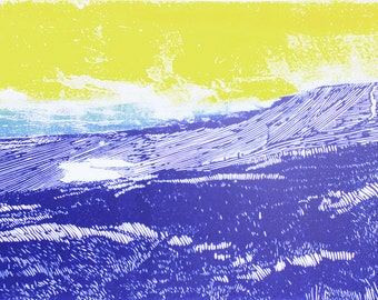 Yorkshire wall art, Whernside art print, Yorkshire three peaks poster print, mountain art, purple, yellow blue landscape affordable art