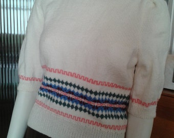 Hand knitted Ladies Shortsleeved Fairisle Sweater in 1940s Style
