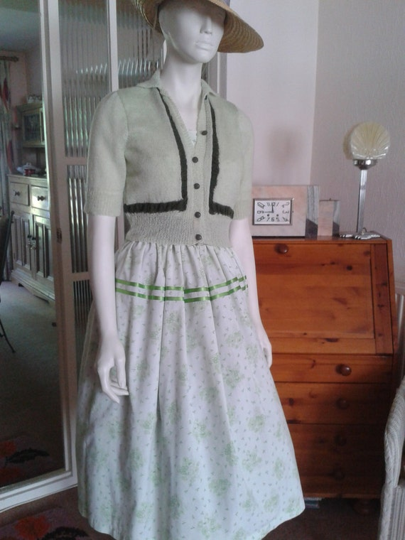 Pretty Green Floral Summer Dress And Cardigan In 1950s