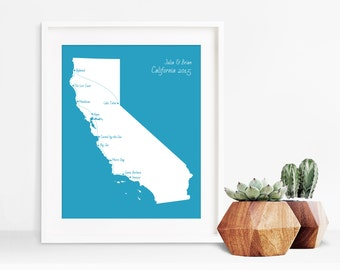 Customized California Road Trip Map ~ California Map ~ Personalized Family Vacation Map ~ Honeymoon Map ~ Personalized Map Art - Cali