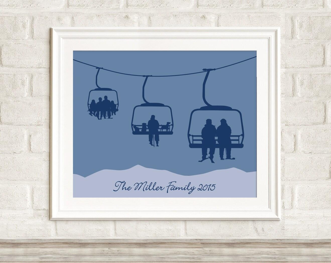 Custom Chair Lift Print Multi-Generational Family Ski Art ...
