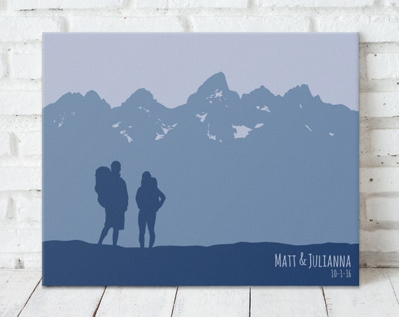 Hiking Gift For Couple Mountains Wall Art Travel Print Etsy